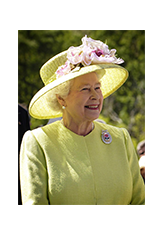 Image of Queen Elizabeth in yellow, smiling